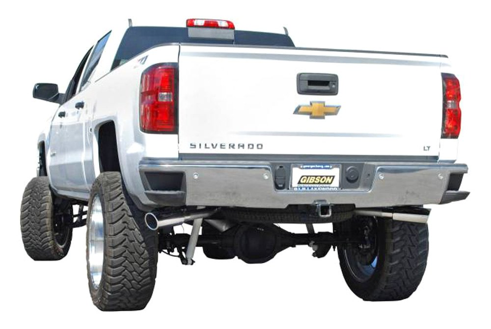 gibson extreme dual cat back exhaust system with split side exit