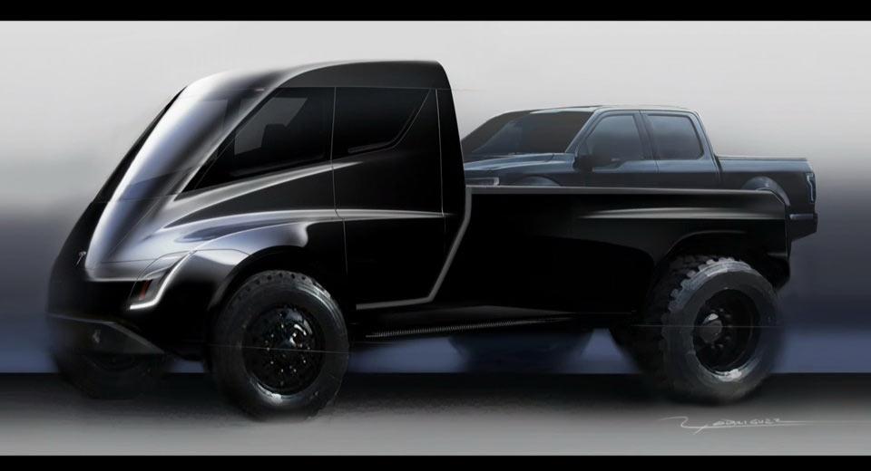 tesla pickup truck teased