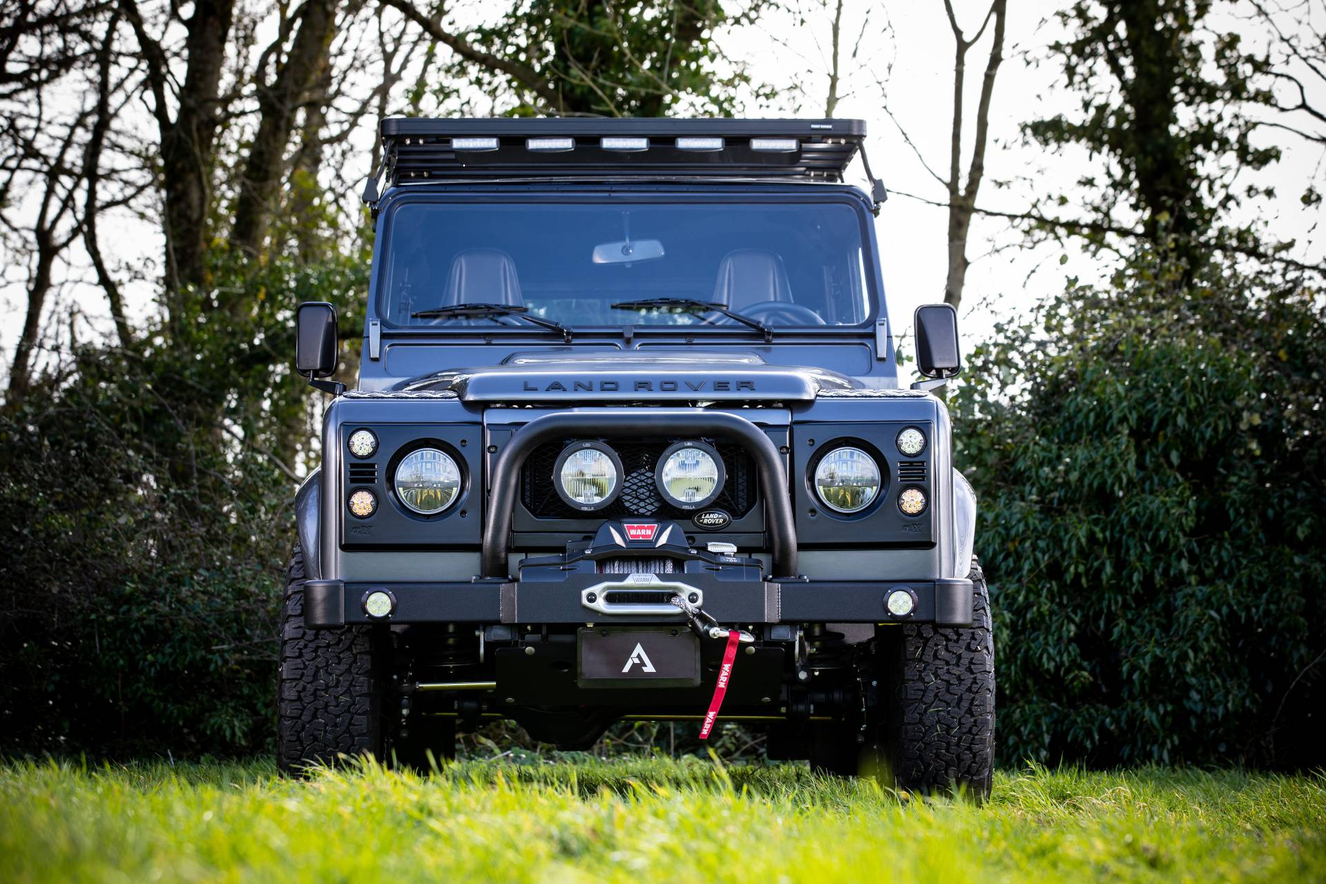 hight resolution of  defender restomod called the recon d110 based on the long wheelbase model it has been equipped to deal with the varied terrain of sun valley idaho