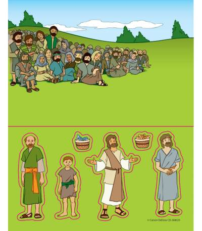 Jesus feeds 5000 people sticker craft