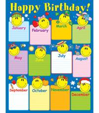 Smiley Face Birthday Chart Grade K