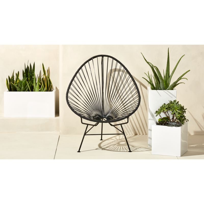 land of nod chair lightweight folding beach lounge outdoor black acapulco + reviews | cb2