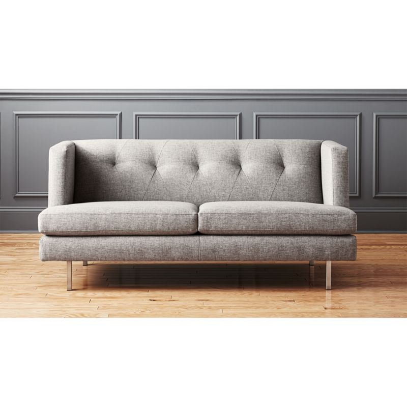avec grey apartment sofa with brushed stainless steel legs in sofas  Reviews  CB2