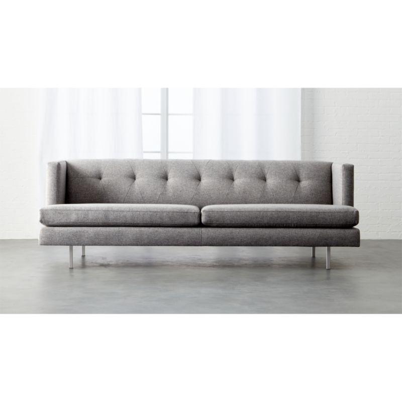 Avec Tufted Grey Sofa Cb2