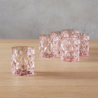 set of 6 betty pink tea light candle holders | CB2
