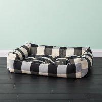 Black and White Large Plaid Dog Bed | CB2