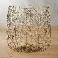 blanche large gold metal basket   CB2