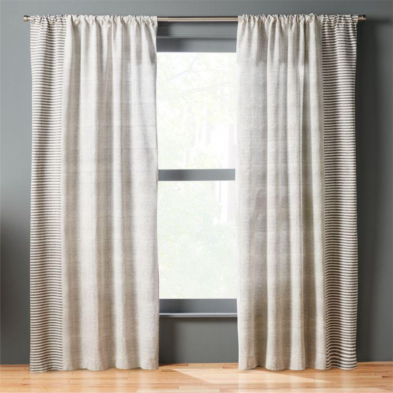 block printed stripe curtain panel  CB2