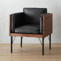 borough leather and dark wood chair + Reviews | CB2