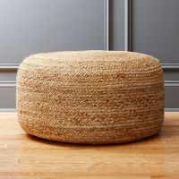 braided jute large pouf + Reviews | CB2
