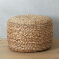 braided jute pouf in poufs + Reviews | CB2