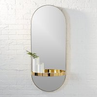 caplet oval mirror with shelf | CB2