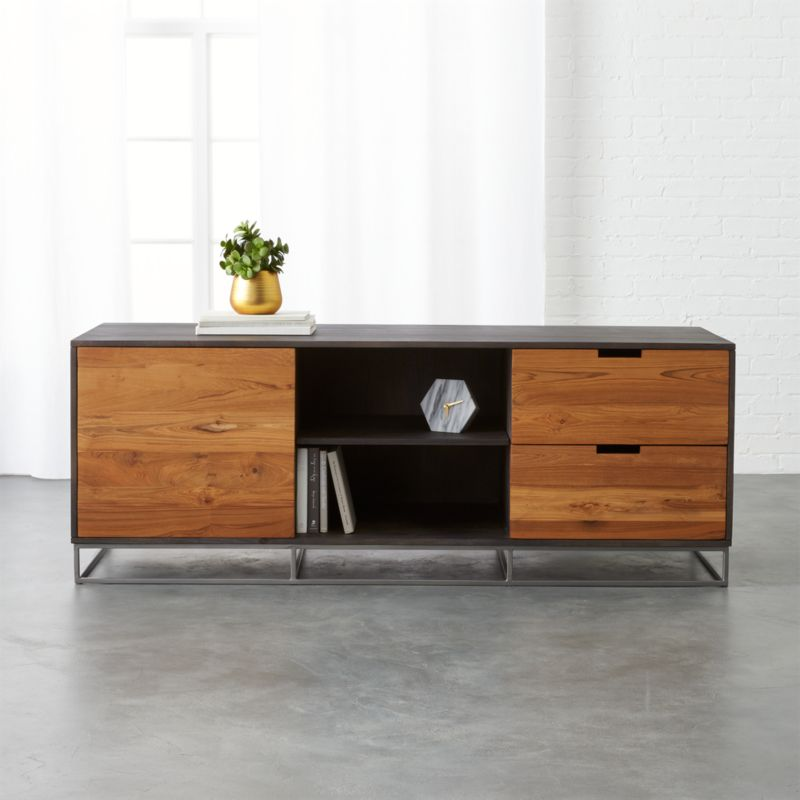 how to decorate a long living room grey with brown leather sofa congo large teak credenza + reviews | cb2