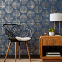 Cross Hatch Circles Gold And Navy Wallpaper Cb2