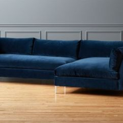 Deep Leather Sectional Sofa Sterling Cognac Brown Italian And Loveseat Decker 2-piece Navy Blue Velvet | Cb2
