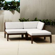 Elba Outdoor Mahogany Sectional Sofa Cb2