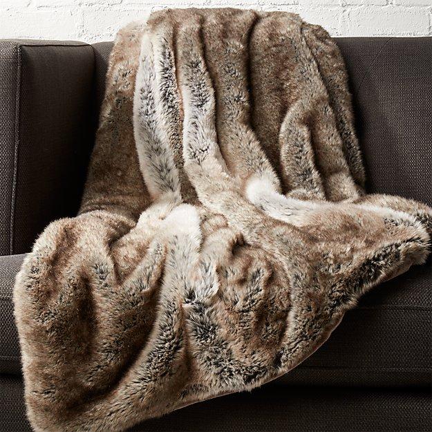 Light Grey Faux Fur Throw  CB2