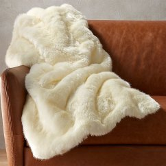 100 Polyester Sofa Throws Elegant Sets Designs White Faux Fur Throw Blanket | Cb2