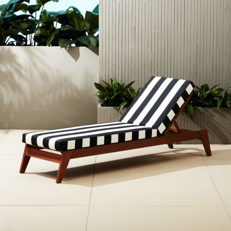 filaki lounger with black and white stripe cushion  CB2