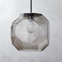 Flat Smoked Glass Pendant Light | CB2