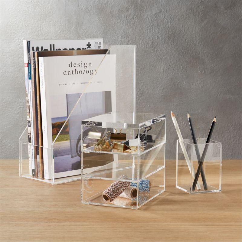 format acrylic desk accessories  CB2