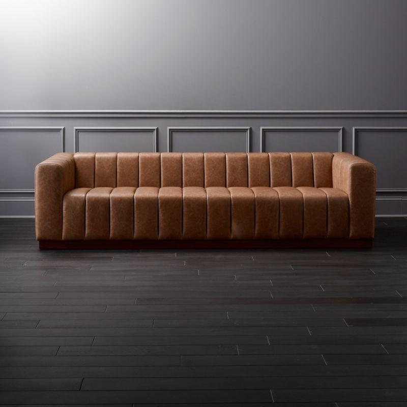 italian leather sofa reviews dry cleaning navi mumbai forte channeled saddle + | cb2