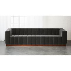 Italian Leather Sofa Reviews Casual Contemporary Sofas Forte Channeled Charcoal Velvet + | Cb2