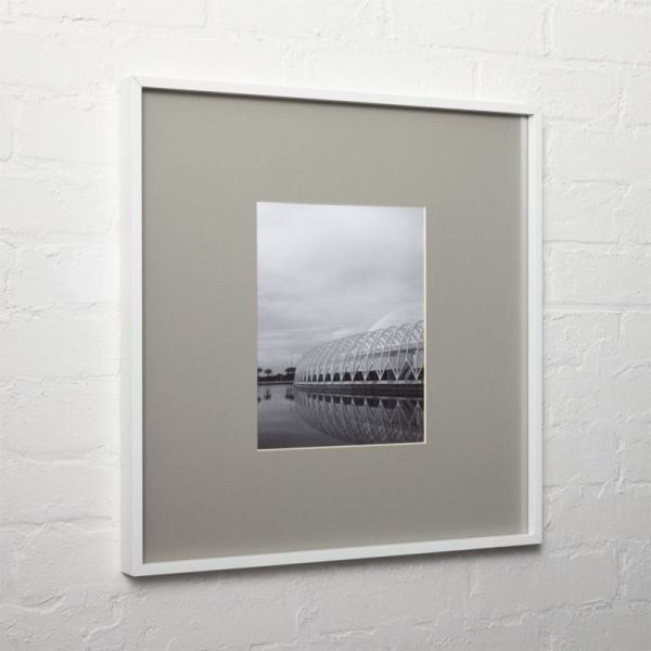 White 8x10 Frame With Grey Mat In Frames Cb2