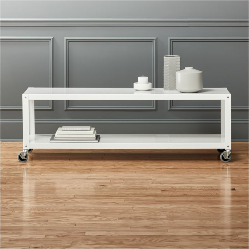 rolling chairs for office wheel chair ramps go-cart white tv stand/coffee table | cb2