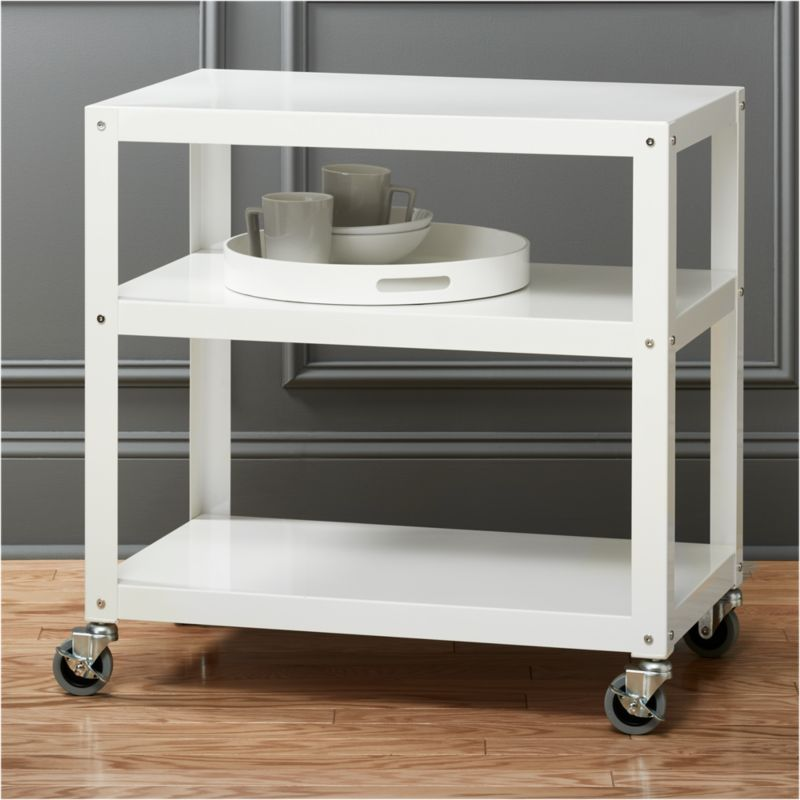 dining chairs on casters smartmotion swing chair nz go-cart white kitchen rolling cart + reviews | cb2