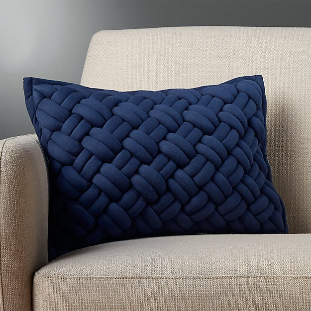 """18""""x12"""" jersey interknit navy pillow with down"""