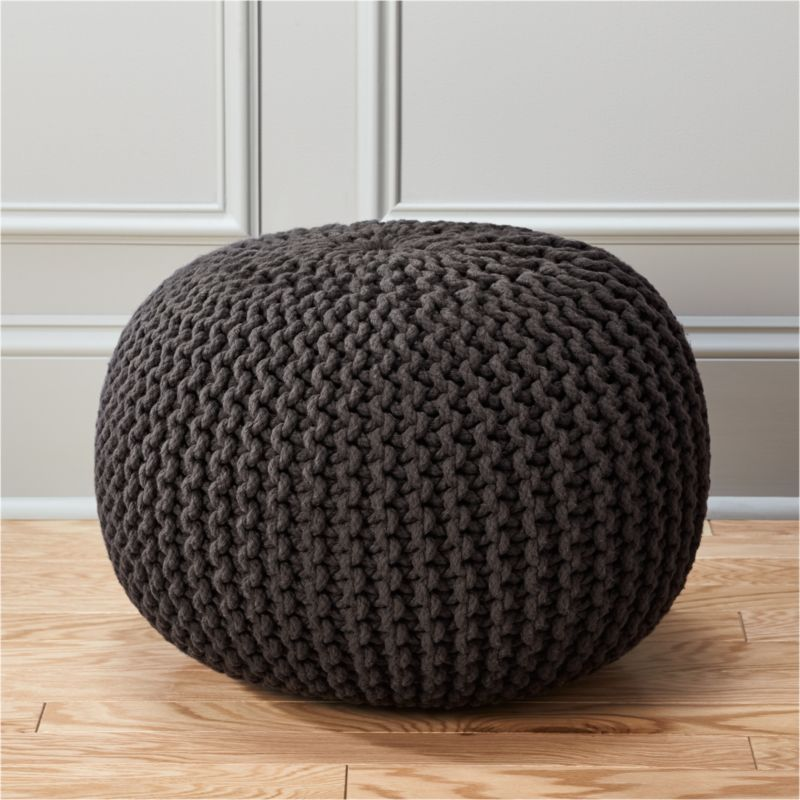 knitted graphite pouf in poufs  Reviews  CB2