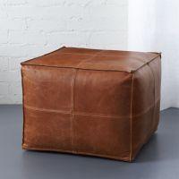 leather pouf | CB2