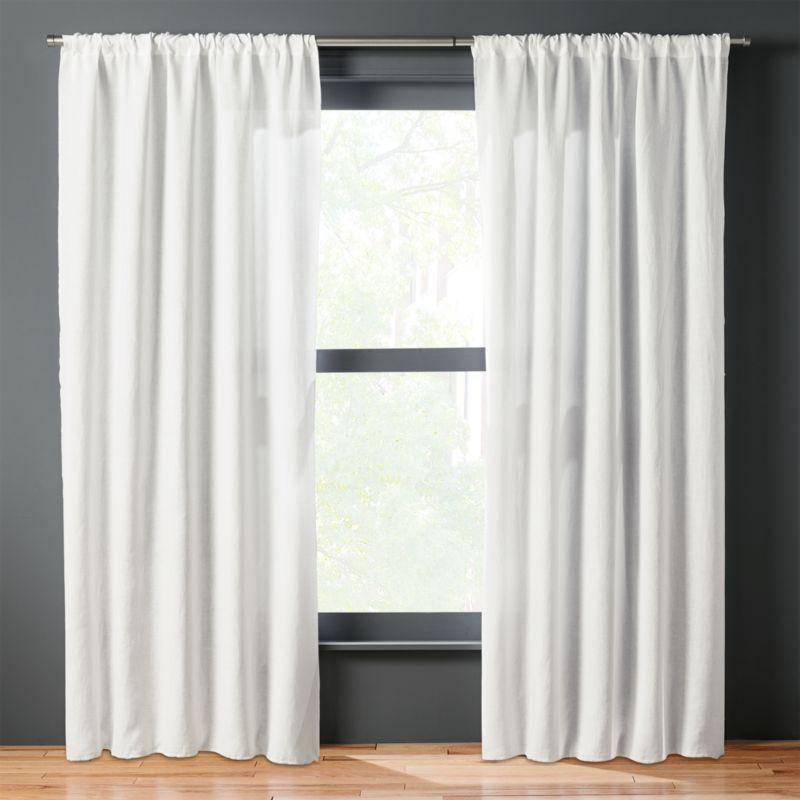 White Linen Curtains  CB2