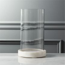 Monorail Marble Hurricane In Candle Holders Cb2