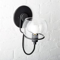 Rest Clear Glass Black Wall Sconce | CB2