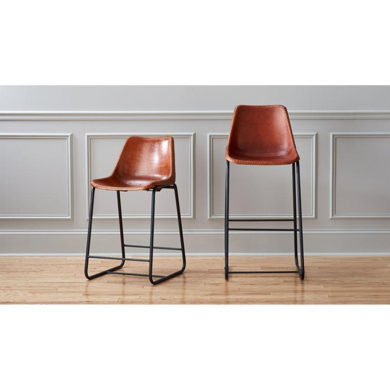 roadhouse leather bar stools  CB2
