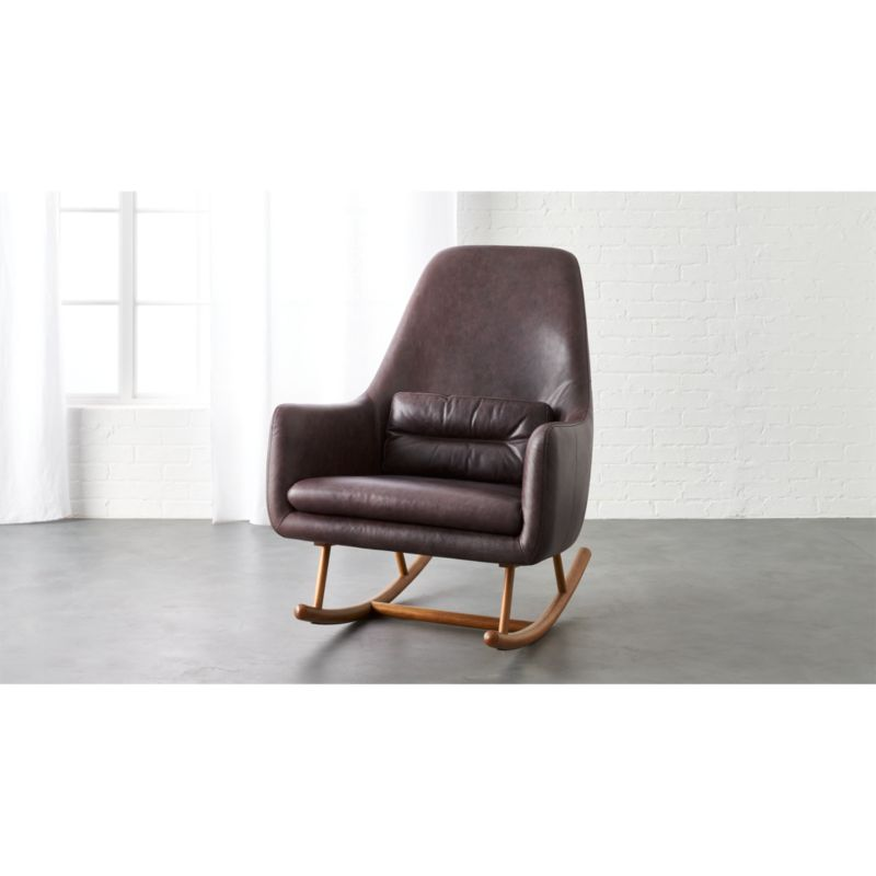 SAIC quantam black leather rocking chair  CB2