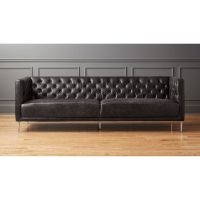 savile black leather tufted sofa | CB2