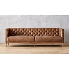 How To Clean Sofa Arms King Hickory Warranty Savile Dark Saddle Brown Leather Tufted + Reviews | Cb2