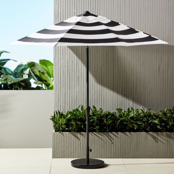 shadow round black and white stripe umbrella with base in outdoor furniture + Reviews | CB2