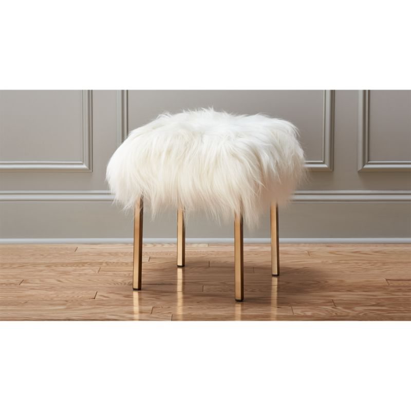 vanity chair white fur hinkle rocking chairs tennessee fuzzy sheepskin stool + reviews | cb2