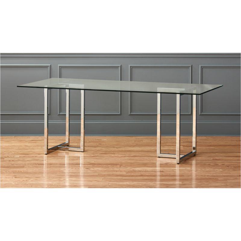 "Silverado 80"" Glass And Chrome Dining Table"