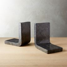 Swoop Black Marble Bookends Cb2