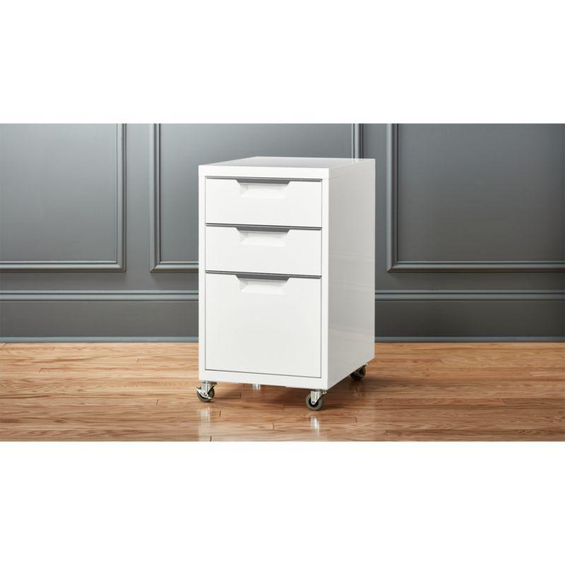 TPS white 3drawer filing cabinet  CB2