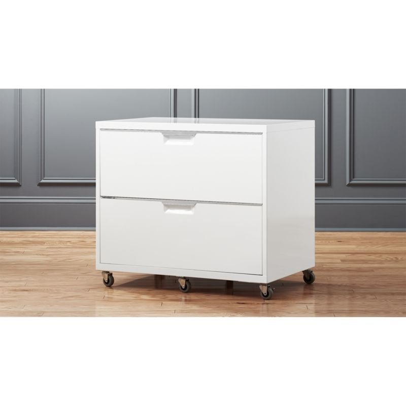 TPS White Wide Filing Cabinet  CB2