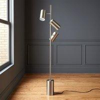 Trio Floor Lamp Brushed Nickel   CB2