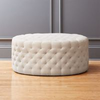 tufted natural ottoman Spring: Natural | CB2