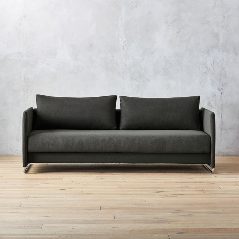 crate and barrel sleeper sofa linen fabric reviews tandom dark grey + | cb2