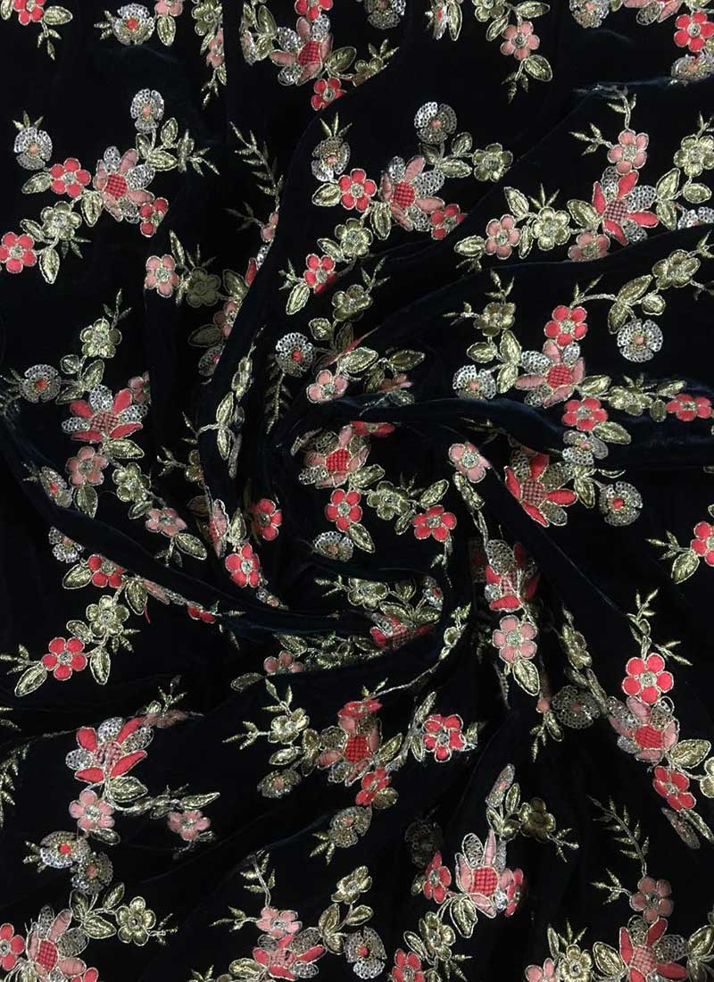 Where To Buy Embroidery Fabric : where, embroidery, fabric, Black, Embroidered, Velvet, Fabric, Wear,, Embroidered,, Blended, Patterned, Online, Shopping, EFSUAR831A573